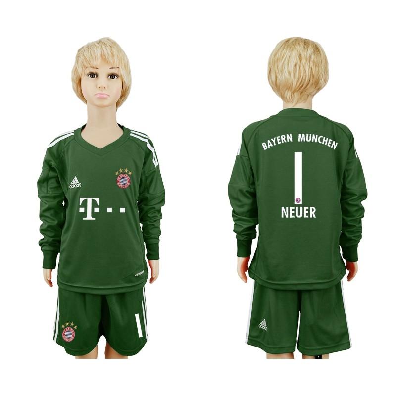 37dba6a9e5a More Views. Youth Bayern Munich  1 Goalkeeper NEUER Jersey Military Green  Long Sleeve