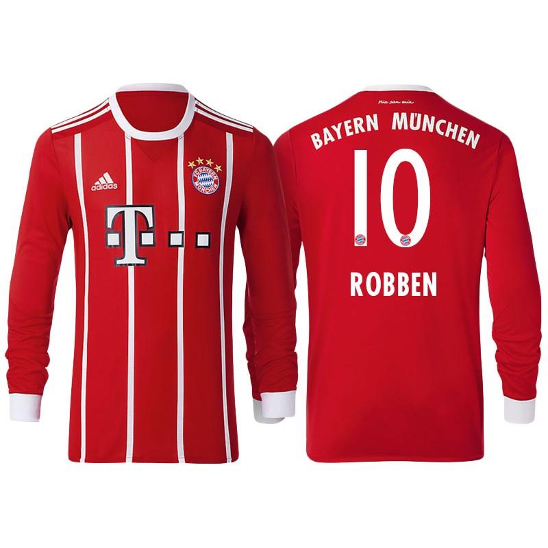 Arjen Robben #10 Bayern Munich White Stripes Red 2017-18 Home Long ...