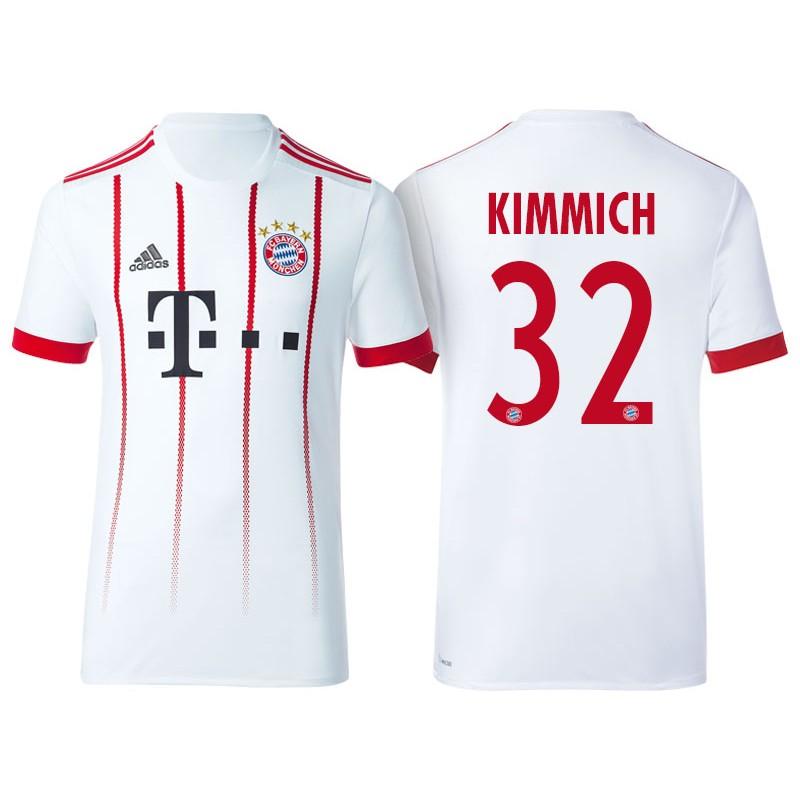 3e0f59962e6 Men s - Joshua Kimmich  32 Bayern Munich 2017 18 White Third ...