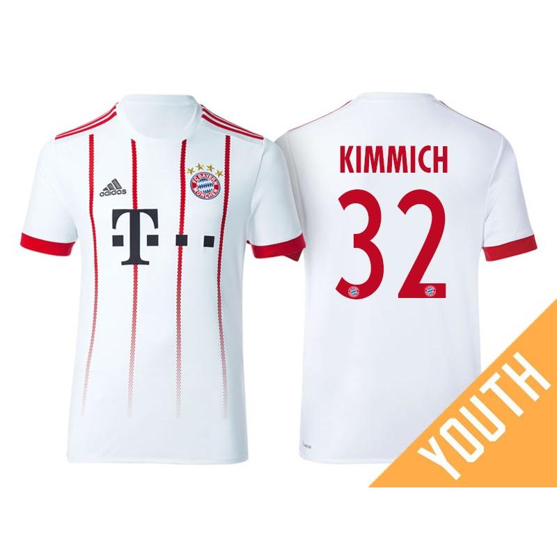 new style 4df3f b226b Kid's - Joshua Kimmich #32 Bayern Munich 2017/18 White ...