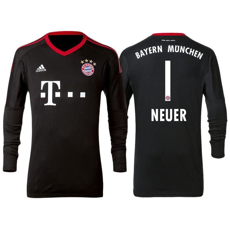 size 40 76f75 2b42a 2017-18 Bayern Munich Manuel Neuer #1 Black Home Goalkeeper ...