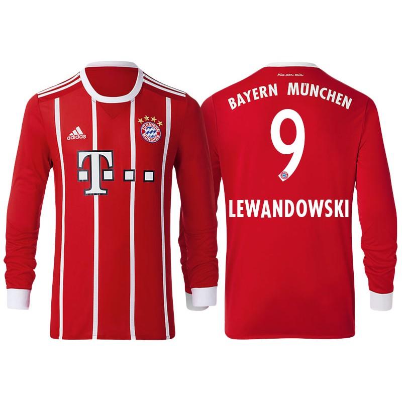e6af56861a9 Robert Lewandowski #9 Bayern Munich White Stripes Red 2017-18 Home Replica  Long Jersey