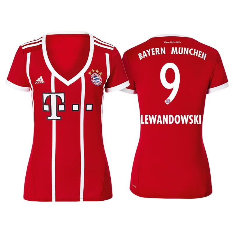 3fd2678b654 Robert Lewandowski #9 Bayern Munich White Stripes Red 2017-18 Home  Authentic Jersey - Women