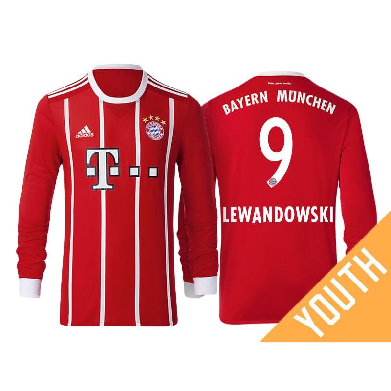 fab77e3e403 Robert Lewandowski #9 Bayern Munich White Stripes Red 2017-18 Home  Authentic Long Jersey - Youth