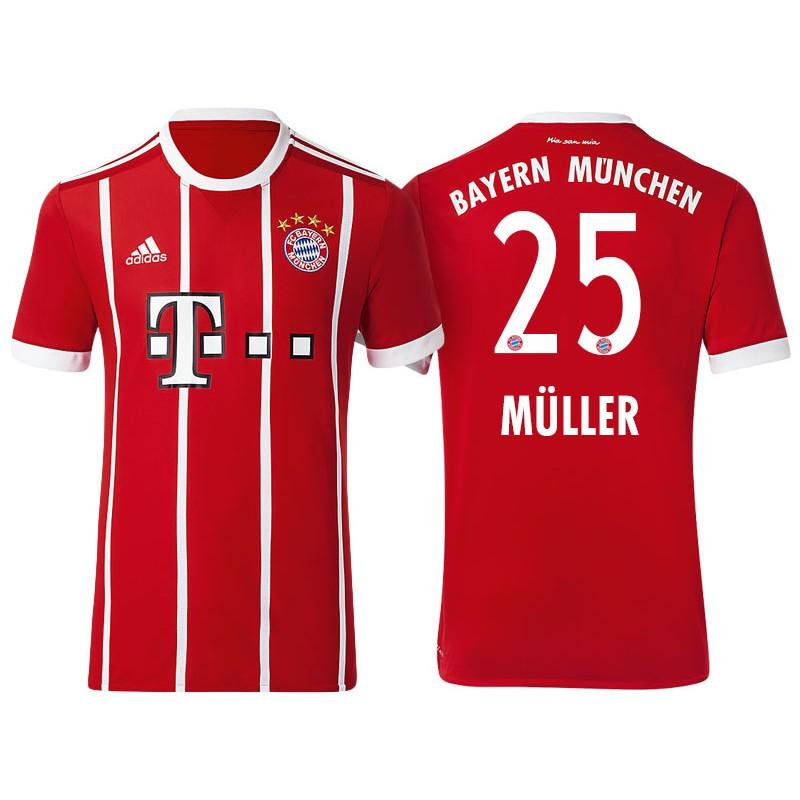Thomas Muller #25 Bayern Munich White Stripes Red 2017-18 Home ...