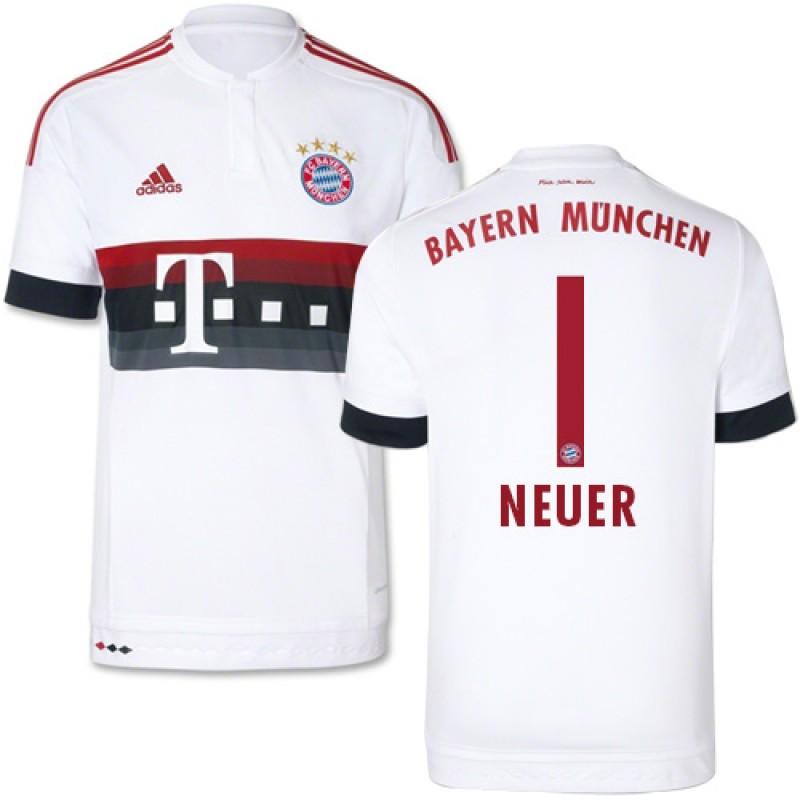 a6d9802d9 15 16 Germany FC Bayern Munchen Shirt -  1 Youth Manuel Neuer Replica White  Away Soccer Jersey - Football Shirt Online Sale Size XS