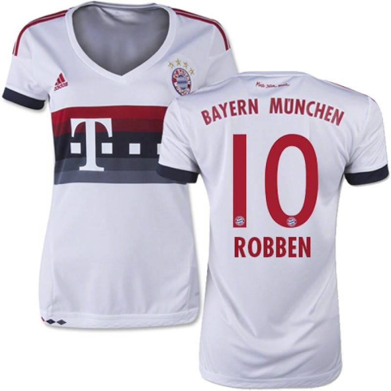 15 16 Germany FC Bayern Munchen Shirt -  10 Women s Arjen Robben Replica  White Away Soccer Jersey - Football Shirt Online Sale Size XS 1170952a3