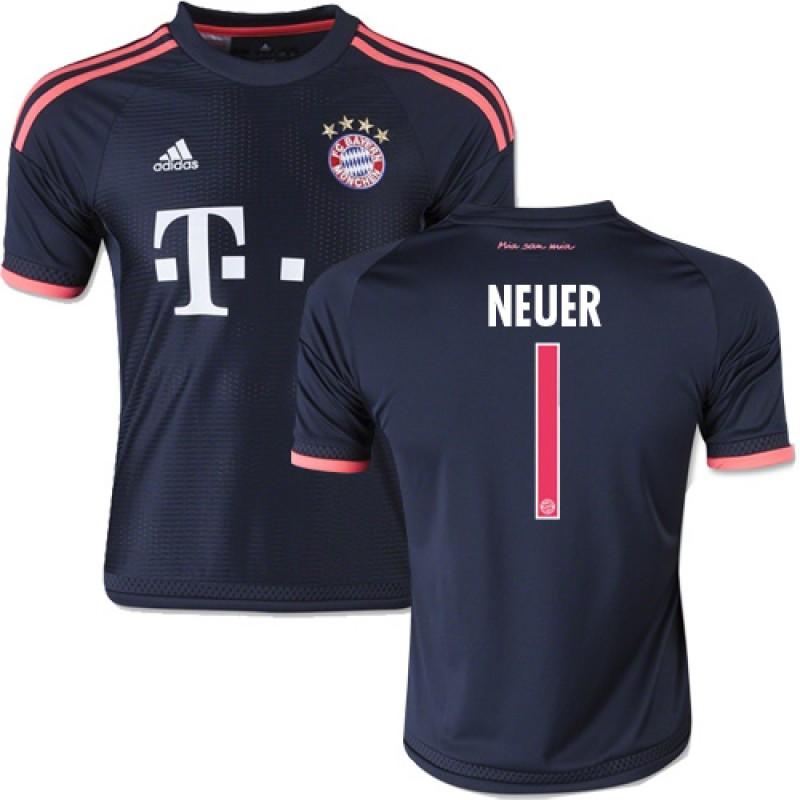 022d8a6d1 15 16 Germany FC Bayern Munchen Shirt -  1 Youth Manuel Neuer Replica Navy  Third Soccer Jersey - Football Shirt Online Sale Size XS