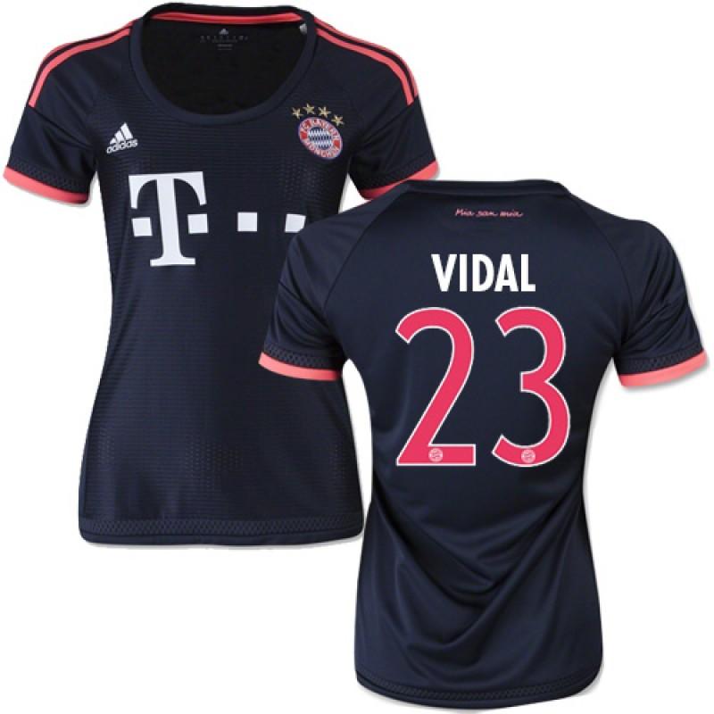 4fbe229e756 15 16 Germany FC Bayern Munchen Shirt -  23 Women s Arturo Vidal Replica  Navy Third Soccer Jersey - Football Shirt Online Sale Size XS