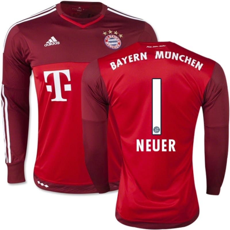 58acb5d44 15 16 Germany FC Bayern Munchen Shirt -  1 Manuel Neuer FC Bayern Munich  Goalkeeper Soccer Jersey Replica Red Away 15 16 Bundesliga Club Soccer  Jersey ...