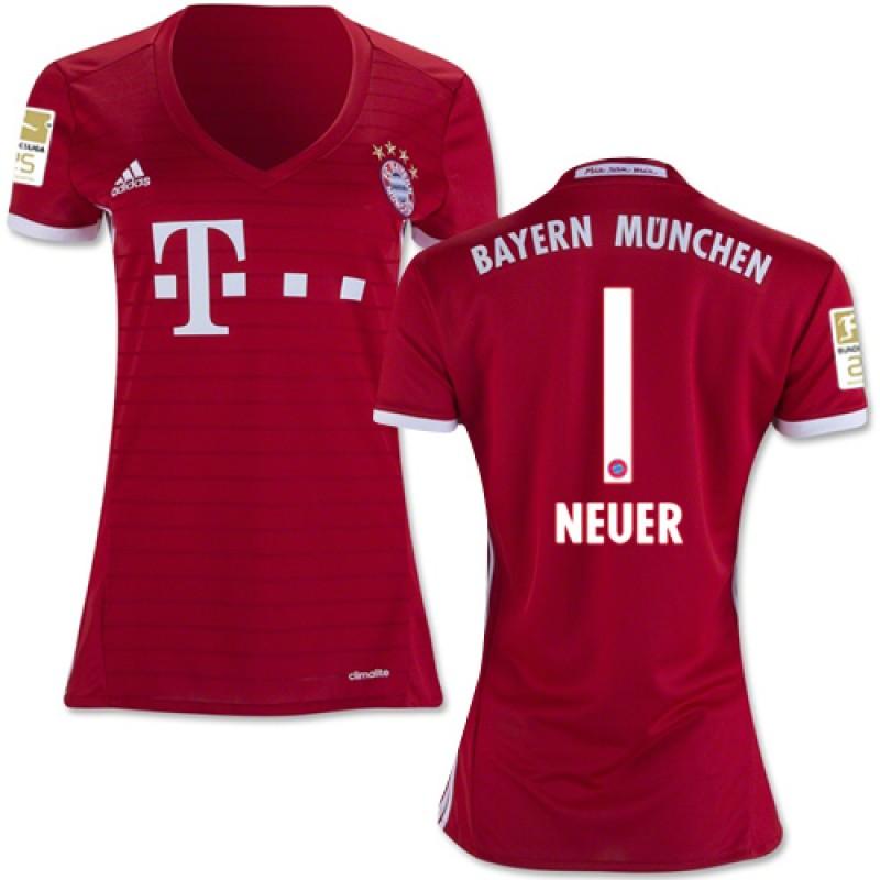 timeless design 2390b ae5a9 Women's 16/17 Bayern Munich #1 Manuel Neuer Authentic Red ...