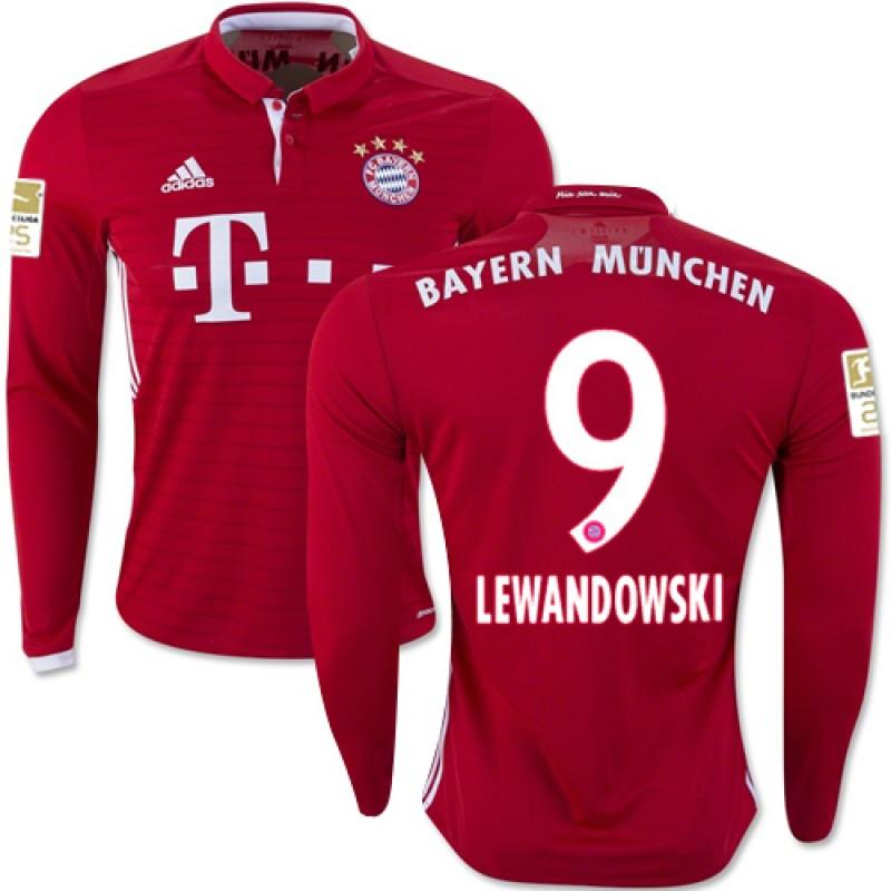 8247afc22f9 16/17 Bayern Munich #9 Robert Lewandowski Replica Red Home Long Sleeve Shirt