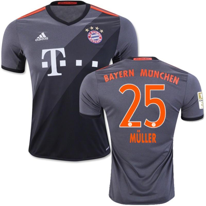 size 40 d3366 bc448 16/17 Bayern Munich #25 Thomas Muller Replica Grey Away ...