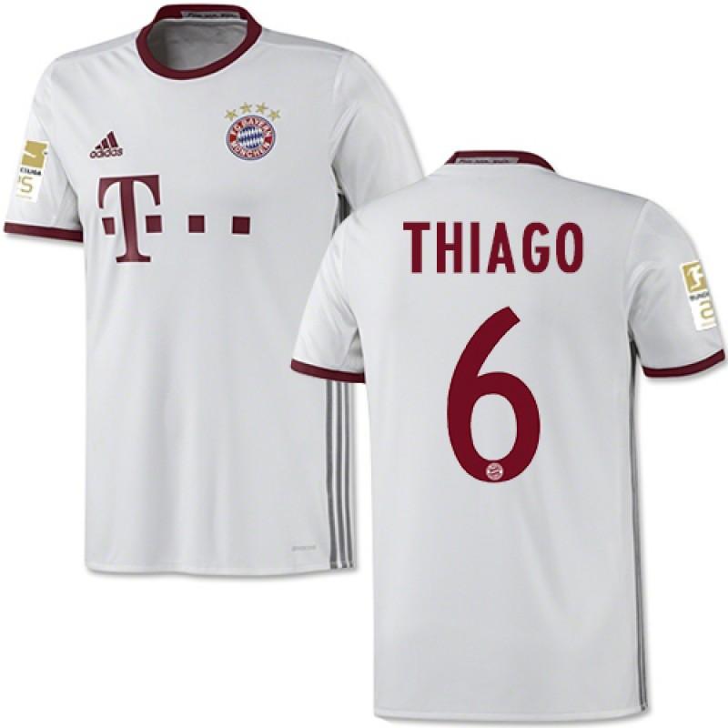 03f315367 16 17 Bayern Munich  6 Thiago Alcantara Replica White Third Jersey ...