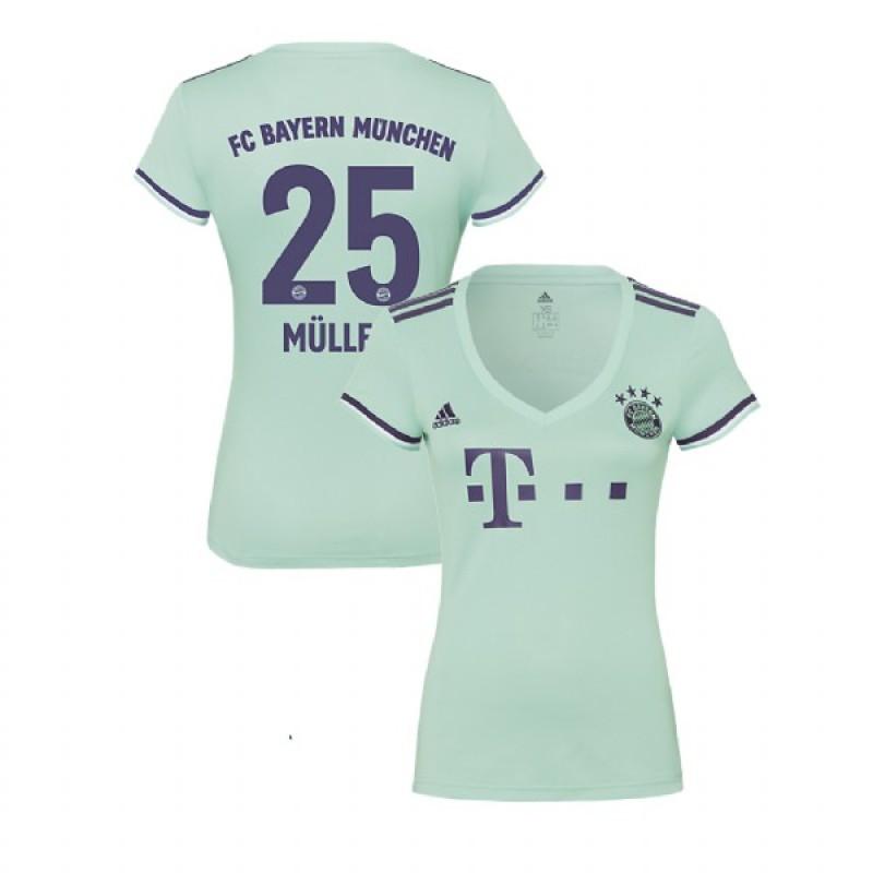 069168cb8 Women s Bayern Munich 2018 19 Away  25 Thomas Muller Light Green Replica  Jersey