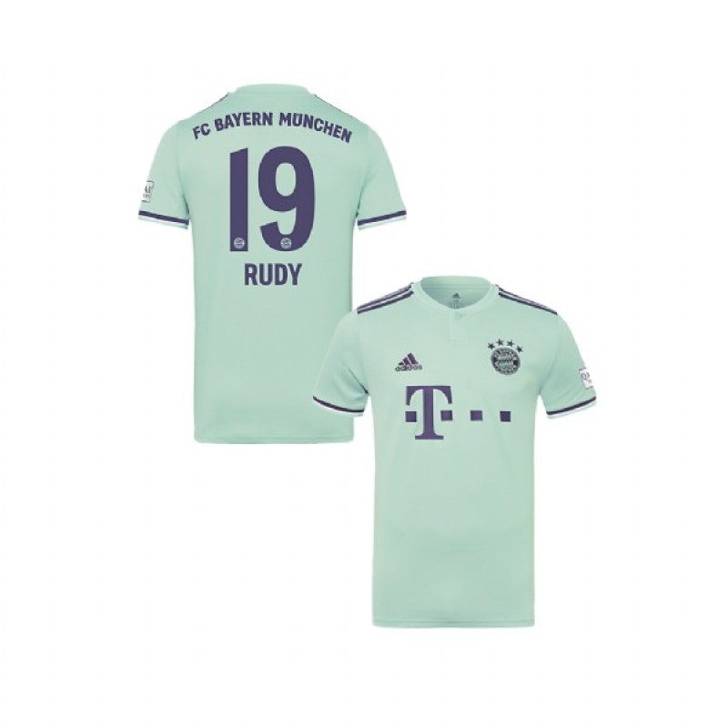 445563239 Youth Bayern Munich 2018/19 Away #19 Sebastian Rudy Light Green Authentic Jersey  Jersey