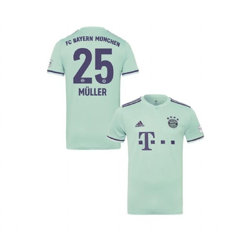 89675d2d8 Youth Bayern Munich 2018 19 Away  25 Thomas Muller Light Green Authentic  Jersey Jersey