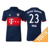 Youth - Arturo Vidal #23 Bayern Munich 2017/18 Navy Blue Away Authentic Shirt