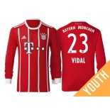 Arturo Vidal #23 Bayern Munich White Stripes Red 2017-18 Home Replica Long Jersey - Youth