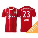 Arturo Vidal #23 Bayern Munich White Stripes Red 2017-18 Home Replica Jersey - Youth