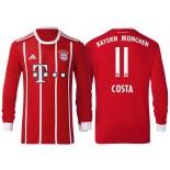 Douglas Costa #11 Bayern Munich White Stripes Red 2017-18 Home Authentic Long Jersey
