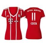 Douglas Costa #11 Bayern Munich White Stripes Red 2017-18 Home Replica Jersey - Women