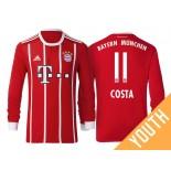 Douglas Costa #11 Bayern Munich White Stripes Red 2017-18 Home Replica Long Jersey - Youth