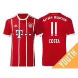 Douglas Costa #11 Bayern Munich White Stripes Red 2017-18 Home Replica Jersey - Youth