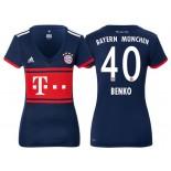 Women - Fabian Benko #40 Bayern Munich 2017/18 Navy Blue Away Authentic Shirt