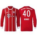 Fabian Benko #40 Bayern Munich White Stripes Red 2017-18 Home Replica Long Jersey