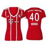 Fabian Benko #40 Bayern Munich White Stripes Red 2017-18 Home Authentic Jersey - Women
