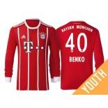Fabian Benko #40 Bayern Munich White Stripes Red 2017-18 Home Replica Long Jersey - Youth