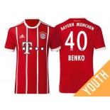 Fabian Benko #40 Bayern Munich White Stripes Red 2017-18 Home Replica Jersey - Youth