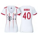 Women - Fabian Benko #40 Bayern Munich 2017/18 White Champions League Third Authentic Shirt