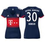 Women - Niklas Dorsch #30 Bayern Munich 2017/18 Navy Blue Away Authentic Shirt