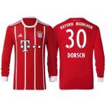 Niklas Dorsch #30 Bayern Munich White Stripes Red 2017-18 Home Replica Long Jersey