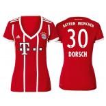 Niklas Dorsch #30 Bayern Munich White Stripes Red 2017-18 Home Authentic Jersey - Women