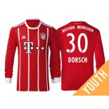 Niklas Dorsch #30 Bayern Munich White Stripes Red 2017-18 Home Authentic Long Jersey - Youth