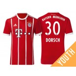 Niklas Dorsch #30 Bayern Munich White Stripes Red 2017-18 Home Authentic Jersey - Youth