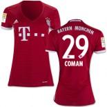Women's 16/17 Bayern Munich #29 Kingsley Coman Replica Red Home Jersey