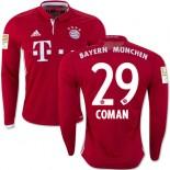 16/17 Bayern Munich #29 Kingsley Coman Replica Red Home Long Sleeve Shirt