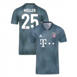 Bayern Munich 2018/19 Third #25 Thomas Muller Gray/Blue Authentic Jersey Jersey